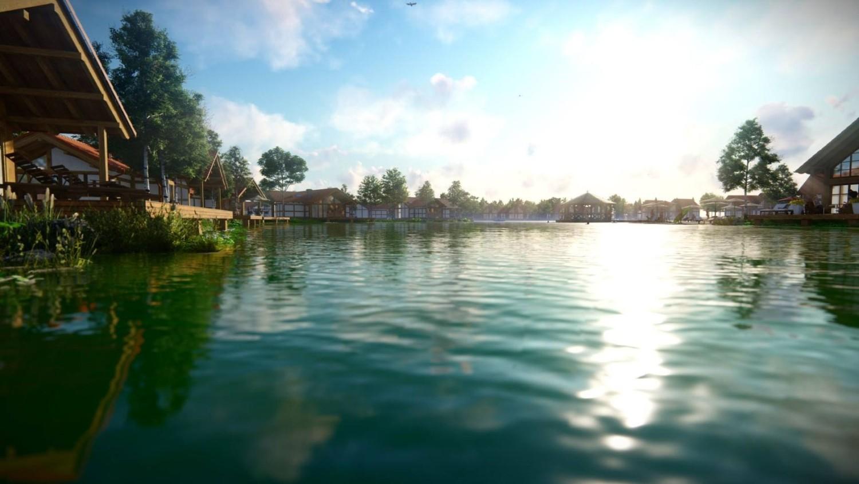 wizualizacja domów nad jeziorem